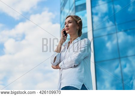 Businesswoman Successful Woman Business Person Standing Outdoor Corporate Building Exterior Cell Pho