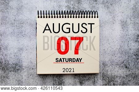 August 07, Date On The Calendar. Handmade Wood Cube With Date Month And Day. Planning For The Day. A