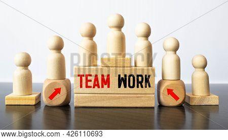 Teamwork Word Written On Wood Block, Business Concept