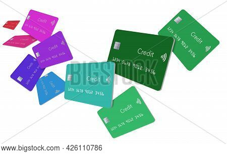 Eleven Generic Credit Cards Float And Fly Over A White Background In This Isolated 3-d Illustration.