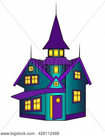 House. Mysterious Halloween Mansion With A Tower - Vector Full Color Illustration. Scary House - Hal