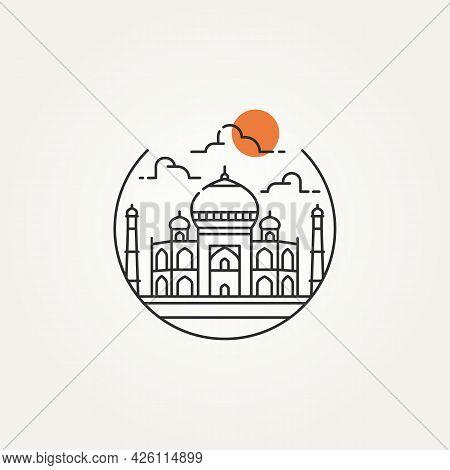 Taj Mahal Outline Minimalist Line Art Icon Logo Template Vector Illustration Design. Simple Modern L