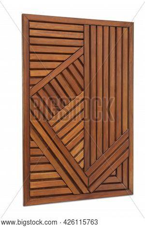 Wooden Panel On White Background. Element Of Interior Decor