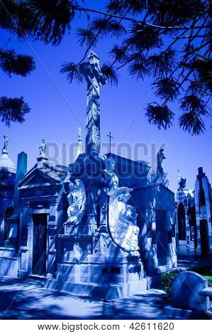 Statues With Mausoleums In A Cemetery