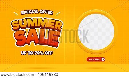Summer Sale Banner Template Special Offer Up To 70% With Circle Frame