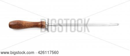 Sharpening Steel With Wooden Handle Isolated On White, Top View