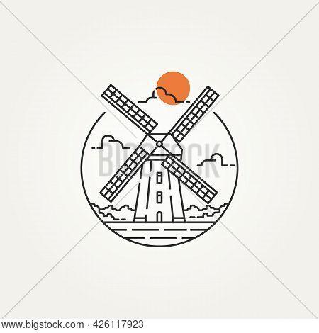 Windmill Outline Minimalist Line Art Icon Logo Template Vector Illustration Design. Simple Modern La
