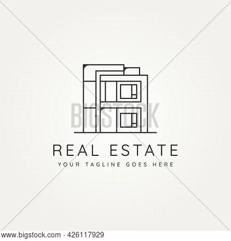 Real Estate Minimalist Line Art Icon Logo Template Vector Illustration Design. Simple Modern Housing