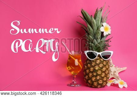 Summer Party. Funny Pineapple With Cocktail, Plumeria Flowers And Starfish On Pink Background