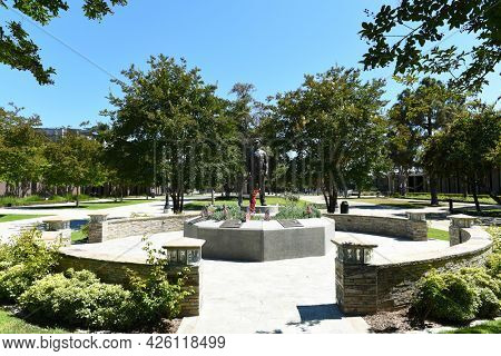 WESTMINSTER, CALIFORNIA - 5 JULY 2021: Westminster Police Officers Memorial in the Civic Center commons adjacent to the Police Department building, honors their fallen officers.