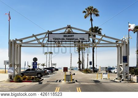 LONG BEACH, CALIFORNIA - 5 JULY 2021: Parking lot entrance at the Belmont Veterans Memorial Pier.