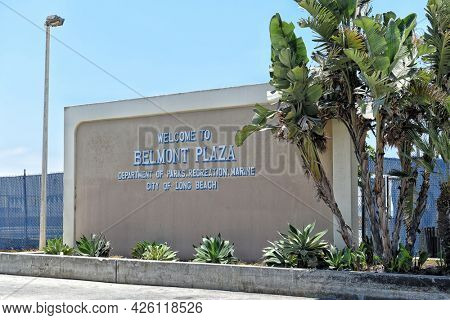 LONG BEACH, CALIFORNIA - 5 JULY 2021: Sign at the Belmont Plaza on Shoreline Way, in the Belmont Shores neighborhood.