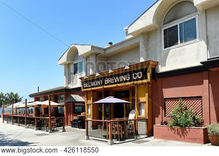 LONG BEACH, CALIFORNIA - 5 JULY 2021: Belmont Brewing Company in the Belmont Shores,  neighborhood,  on Shoreline Way and 39th Street,