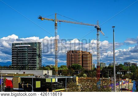 Construction Of A New High-rise Buildings In Residential District . Residential Area With Multi-apar