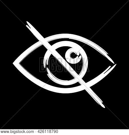Crossed Out Eye. Search Icon. Vector Graphic. Sensitive Content Sign. Social Media Icon. Vector Illu