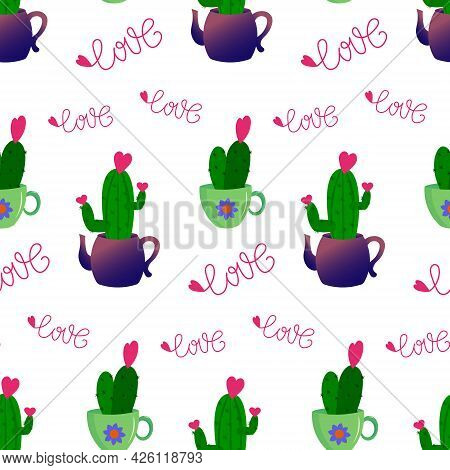 Pattern With Cactus In A Teapot And A Mug. Vector Illustration Isolated On White Background. For Pri