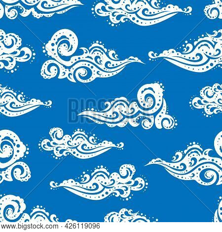 Clouds On The Blue Sky. Cloudscape At Day Time. Vector Illustration.