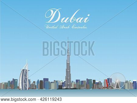 Dubai Skyline With Panorama In Sky Background. Vector Illustration. Business Travel And Tourism Conc