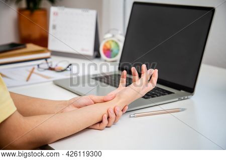 Concept Office Syndrome Hand Pain From Occupational Disease, Woman Having Wrist Pain From Using Comp