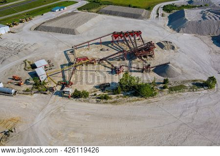 Aerial Panorama View Of Open Quarries Mining With Work Of Machinery Equipment Mine Extracting