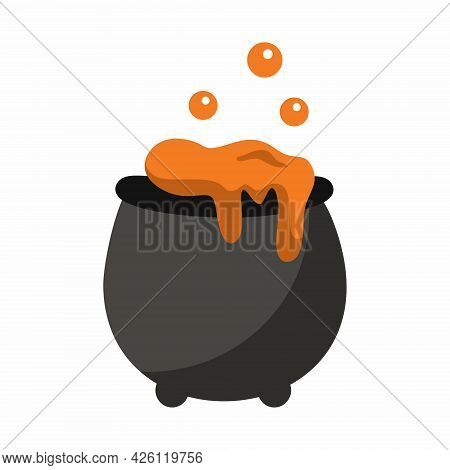 Cauldron With Magic Potion. Vector Icon For  Halloween Holiday...