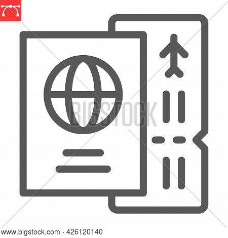 Passport With Ticket Line Icon, Travel And Tourist, Passport Vector Icon, Vector Graphics, Editable