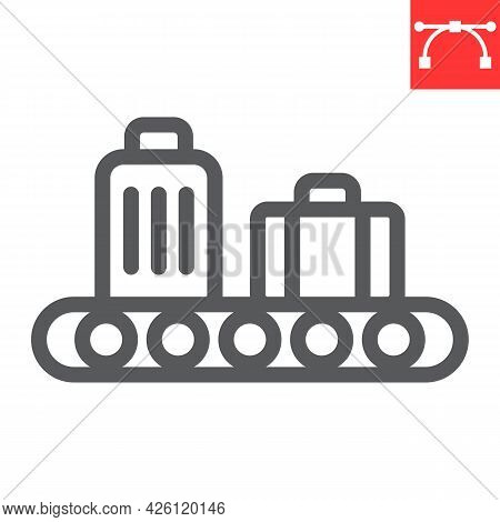 Baggage Claim Line Icon, Airport And Luggage, Baggage Claim Vector Icon, Vector Graphics, Editable S