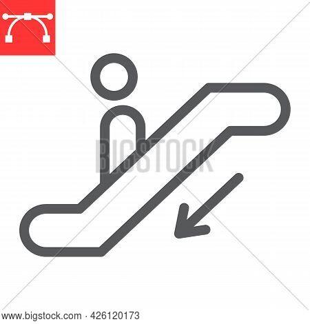 Escalator Down Line Icon, Information And Airport, Man On Escalator Vector Icon, Vector Graphics, Ed