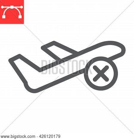 Flight Cancelled Line Icon, No Flight And Airport, No Fly Zone Vector Icon, Vector Graphics, Editabl