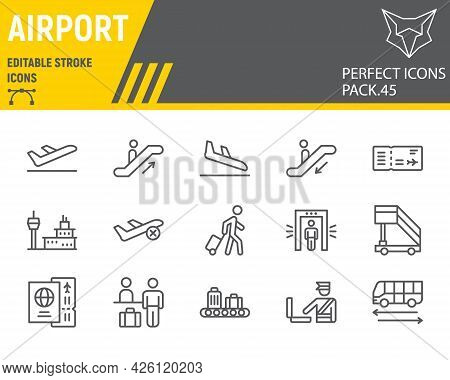 Airport Line Icon Set, Travel Collection, Vector Graphics, Logo Illustrations, Airport Vector Icons,