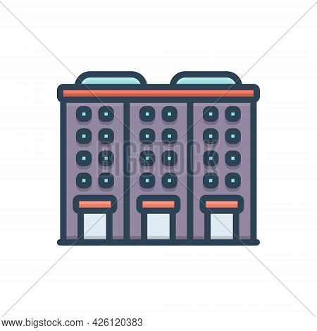 Color Illustration Icon For Apartment Accommodations Residence Building Habitation Architecture Cons