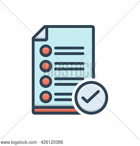 Color Illustration Icon For Approve Accept Approval Checkmark Successful