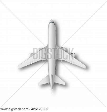 Realistic Standing Airplane, Jet Aircraft Or Airliner Top View. Detailed Passenger Air Plane On Whit