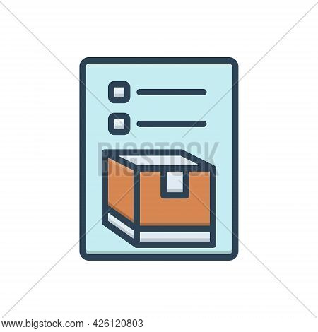 Color Illustration Icon For Inventory Merchandise Storage Cargo Goods Packing List