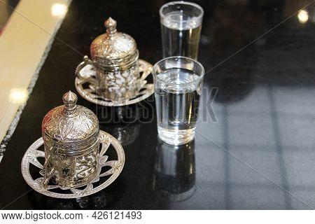Traditional Turkish Coffee At The Shop At Antalya