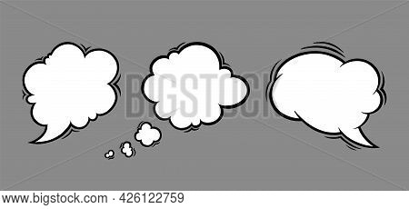 Cloud Speech Bubbles In Comic Style. Speech Bubble For Messages Isolated In Grey Background. Handdra