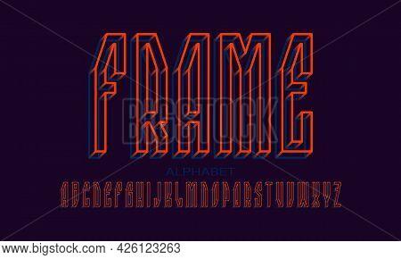 Frame Alphabet Of Orange Blue Wireframe 3d Letters. Volumetric Luminous Display Font. Isolated Engli