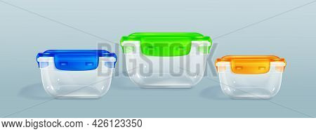 Plastic Food Containers With Clipping Path And Latch Lock Lids. Storage For Frozen Products, Closed