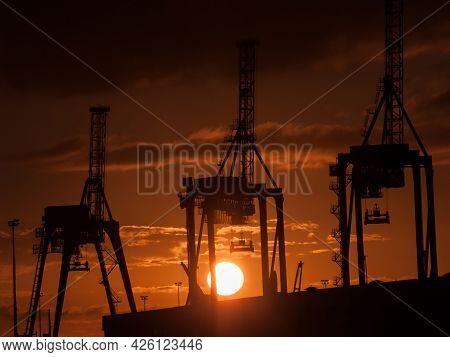 Industrial Silhouette Of Wharf Container Cranes Back Lit By Rising Sun Port Of Tauranga Container Te
