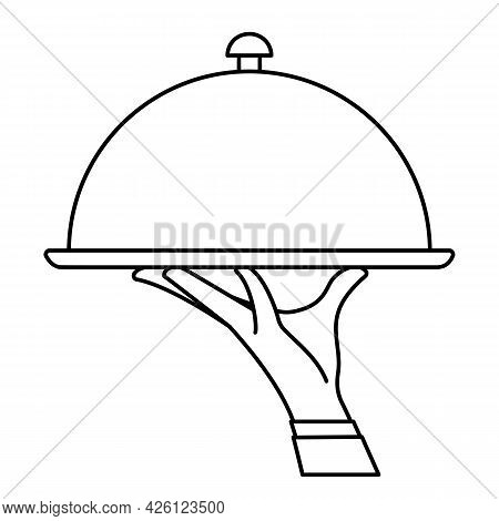 Elegant Waiter Hand Holding Silver Serving Tray With Lid Cover Cloche For Food. Vector Flat Outline