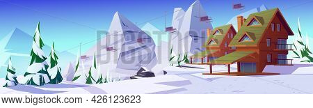 Winter Mountain Landscape With Houses Or Chalet And Funicular. Ski Resort Settlement With Cableway O