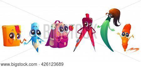 School Supplies Cartoon Characters. Student Education Stationery Mascots Pencil, Felt-tip Pen, Paint