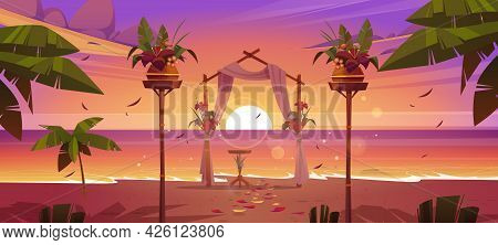 Beach Wedding Ceremony With Floral Arch And Decoration On Sea Shore At Sunset. Vector Cartoon Landsc