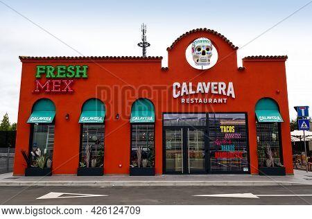 Casalecchio - Bologna, Italy - May 8, 2021: Calavera Restaurant Fresh Mex Building In Bologna. Calav