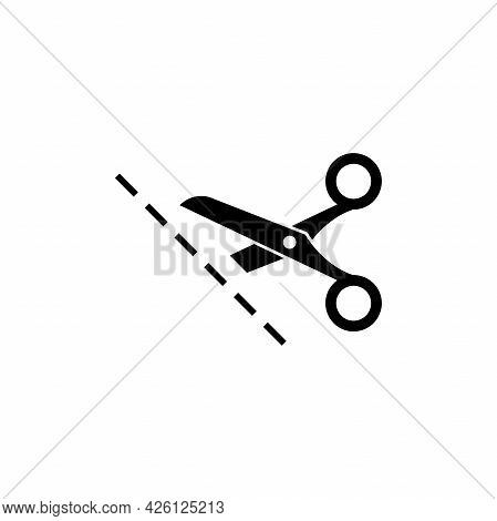 Black Open Scissors With Stitch Line Icon Isolated On White. Cut Sign. Utensil Or Hairdresser Symbol