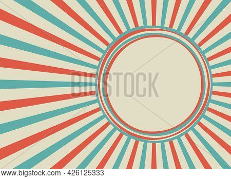 Sunlight Retro Background With Vintage Round Frame For Text. Blue And Beige Color Burst Background.