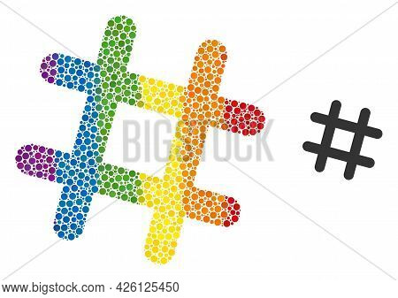 Jail Grid Mosaic Icon Of Filled Circles In Different Sizes And Rainbow Bright Color Tinges. A Dotted
