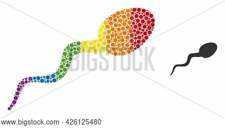 Sperm Composition Icon Of Circle Spots In Different Sizes And Spectrum Colored Color Tones. A Dotted