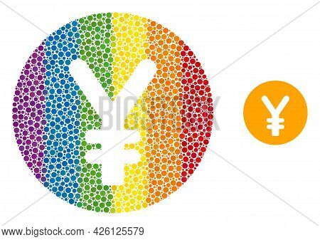 Yen Coin Mosaic Icon Of Round Items In Different Sizes And Spectrum Colorful Color Hues. A Dotted Lg