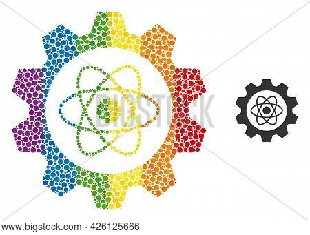 Atomic Industry Mosaic Icon Of Spheric Blots In Various Sizes And Rainbow Colored Color Tones. A Dot